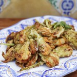 Zucchini flowers with anchovies and oregano